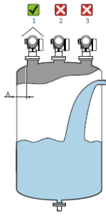 Schéma sur l'installation d'un capteur de niveau radar à émission libre dans une cuve avec une arrivée de liquide