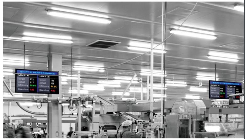 Aperçu d'utilisation d'un PTV (ProducTVity Red Lion) dans une usine