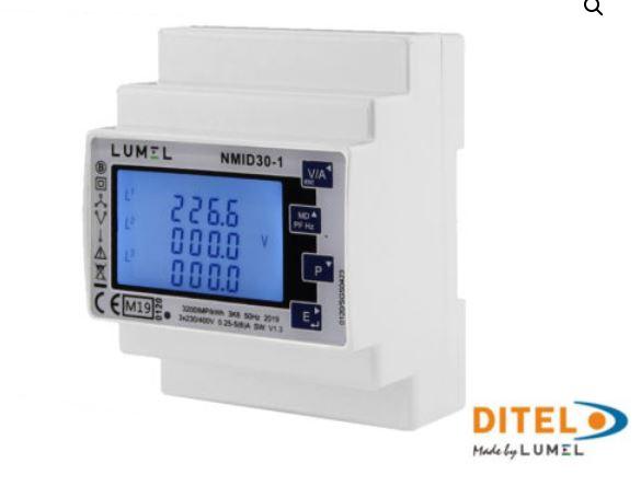 Compteur d'énergie NMID30-1 de Ditel pour les réseaux monophasé et triphasé