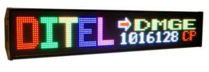 Afficheur matriciel Ditel DMGE1016128C de 16x128 pixels pour une utilisation en extérieur et une hauteur de caractère de 80mm ou 160mm